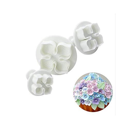 Stampi per biscotti a stantuffo a forma di ortensia, per decorare torte e dolci, 3 pezzi
