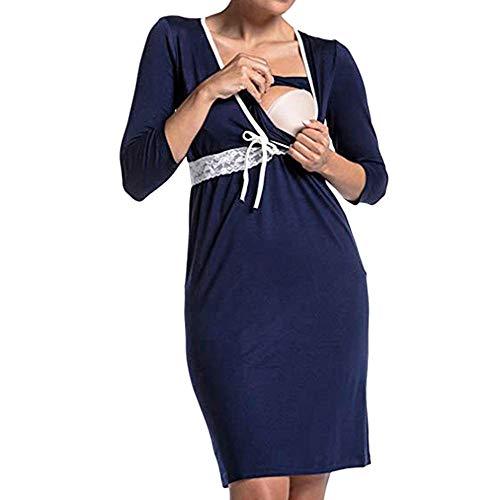 Italily donna gravidanza manica lunga v collo raccogliere pigiama vestito maternità abiti allattamento vestito casa camicia da notte casual abbigliamento da casa dress