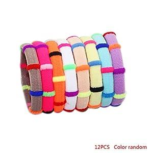 Bobury 12st Farbe Random-Mädchen-elastische Haar-Bänder Gummistirnband Niedlicher Kopf-Dekoration-Zusätze