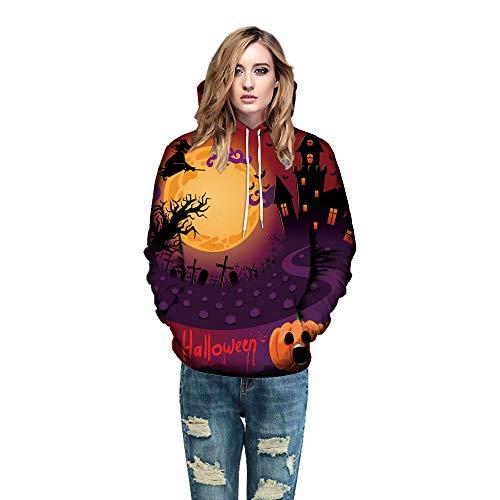 MERICAL Frau Modell 3D Print Langarm Halloween deko Paare Hoodies Top Bluse Shirts(EU:46/CN:M,Orange-F)