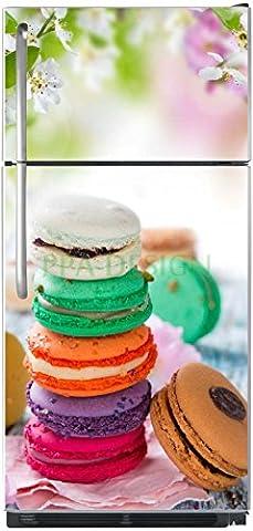 Stickers Macarons - Sticker autocollant frigo Macarons Fleurs de Cerisier