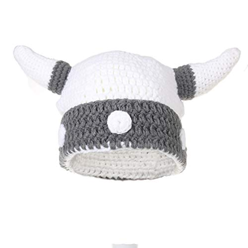 Ypser Cute Bull Horn Beanie Cap Handmade Knitted Viking Crochet Hats Crochet Skull Cap Hat