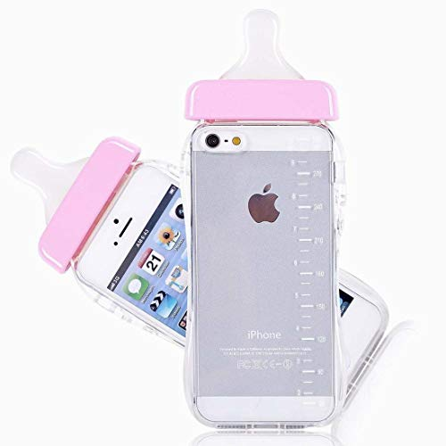 n TPU Baby Flasche Milch Flasche klar Telefon Fall Lanyard Case Cover für iPhone 5/5 s (rosa) ()