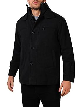 KRISP Parka Hombre Abrigo Negro Lana Chaqueta Elegante Clásico Tallas Grandes