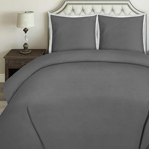 Utopia Bedding Bettwäsche-Set - Mikrofaser Bettbezug und Kissenbezuge - (200 x 200 cm, Grau) -