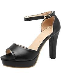 Coolcept Mujer Moda Al Tobillo Sandalias Peep Toe Tacon Ancho Plataforma Zapatos