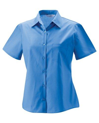 Russell Collection Chemise à manches courtes pour femme Popeline de polycoton facile d'entretien Corporate Blue