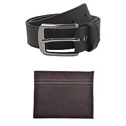 Exotique Mens Black Casual Belt & Wallet Combo (EC0053BK-M)