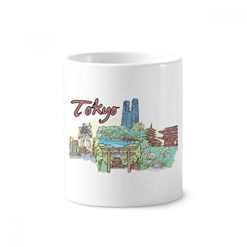pan Yard Tokio Keramik Zahnbürste Stifthalter Becher weiß Tasse 350ml Geschenk ()