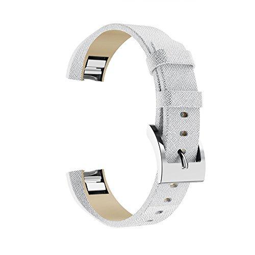 TianranRT Glänzend Leder Armband Silber Klassisch Leder Ersatz Bänder Mit Metall Verbinder Für Fitbit Alta/Alta HR (I) Leder Ipod Armband