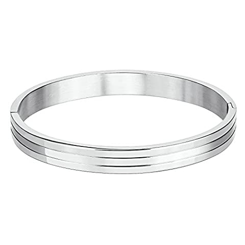 KnSam Stainless Steel Cuff Bracelets for Mens Triple Bar