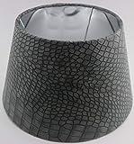 Designer Lampenschirm Grau Kaiman Optik Leder Imitat rund konische Form Ø 25 bis 40cm (Grau 15 * 25 * 15cm)