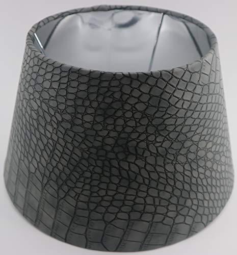 Designer Lampenschirm Grau Kaiman Optik Leder Imitat rund konische Form Ø 25 bis 40cm (Grau 20 * 30 * 18cm)