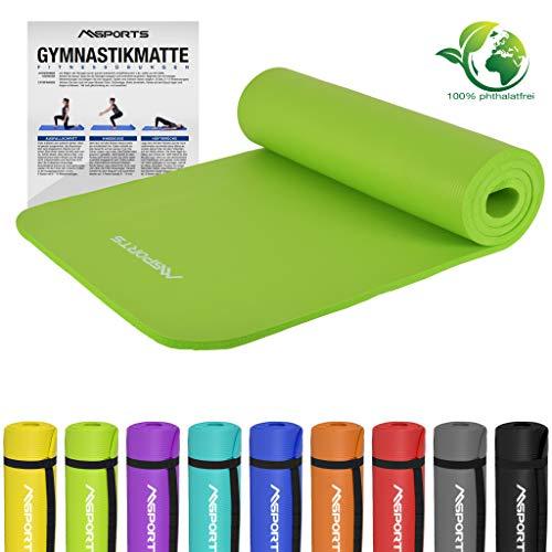 MSPORTS Gymnastikmatte Premium | inkl. Übungsposter | Hautfreundliche - Phthalatfreie Fitnessmatte - Lindengrün - 190 x 60 x 1,5 cm-sehr weich-extra dick | Yogamatte