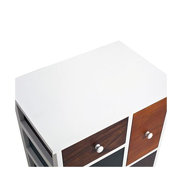 Rebecca Mobili Bathroom Storage Unit, Chest of Drawers 4 Drawers, Paulownia Wood Mdf, Brown White, Vintage Retro Kitchen – Dimensions: 52 x 47 x 33 cm (HxWxD) - Art. RE4338 Rebecca Mobili Stylish forniture with white wooden shelf and 4 brown drawers. Really suitable and easily adaptable to your entrance, living room, bedroom and also perfect your kitchen. Urban style, new design, really original. Add a touch of color to your home with the cabinet of REBECCA ATLANTIC line Size: H 52 cm X L 47 cm X W 33 cm Size: 1 drawer H 26,5 cm x W 15,5 cm x D 28 cm - 1 drawer H 12,5 cm x W 40,5 cm x D 28,5 cm - 2 drawers H 12,5 cm x W 23 cm x D 28,5 cm 5