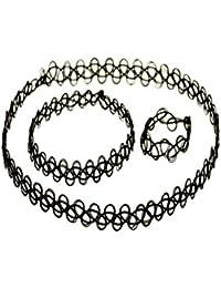 Black Vintage Stretch Tattoo Henna Choker Hippy Necklace Bracelet Ring Set