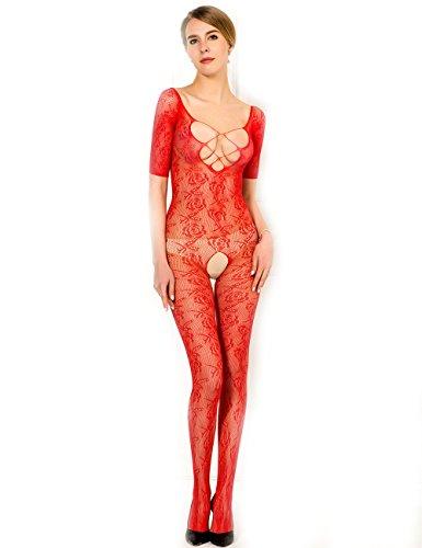 Preisvergleich Produktbild Fashion Damen Nylon Catsuit Netz Overall Body Stocking Spitze Reizwäsche Gogo S/M/L Farbe rot