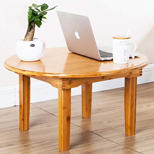 LQ Kleiner couchtisch 32 cm hoher Bambustisch, klappbarer Kleiner Tisch, runder Reistisch, Holztisch, einfacher Tisch, Haushaltstisch (Color : 70cm in Diameter)