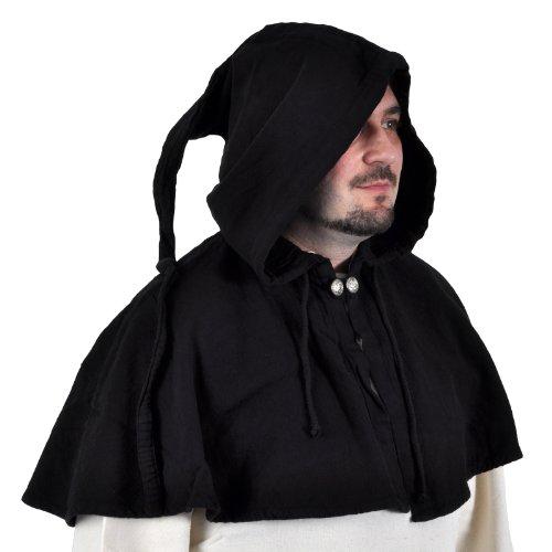 GUGEL ZIPFEL KAPUZE MITTELALTER BAUER LANDKNECHT LARP GOTHIC-5001 schwarz (Kleidung Mittelalterliche Bauern)