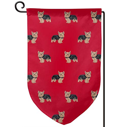 vintage cap Yorkie Yorkshire Terrier Dogs red Polyester Garden Flag House Banner 12.5 x 18 inch, Two Sided Welcome Yard Decoration Flag for Wedding Party Home Decor -