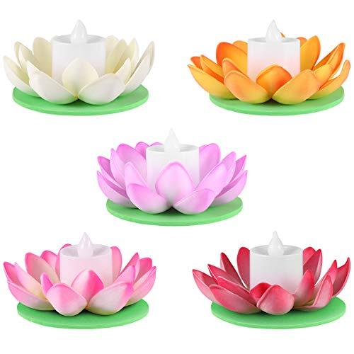 LEDMOMO 5 Stück Lampe Lotusblüte Entwurf Lily Candle Lotus Tealight Künstliche Kerze Blumen Laternen Schwimmbad Licht für Festival (Schwimmende Lotus Kerzen)