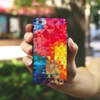 Apple iPhone X Silikon Hülle Case Schutzhülle Bunt Muster struktur Silikon Case schwarz / weiß