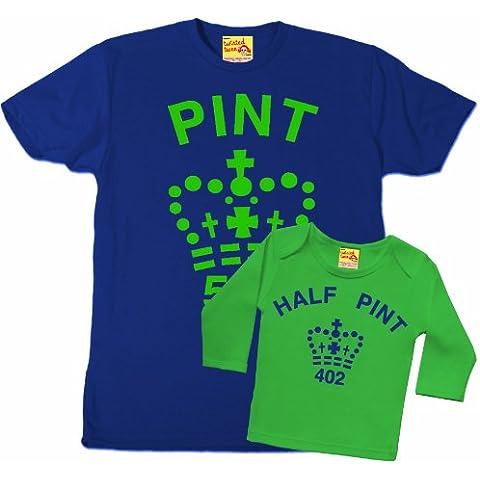 Pinta e mezza pinta Padre e bambino maglietta Set (Blu e Verde)