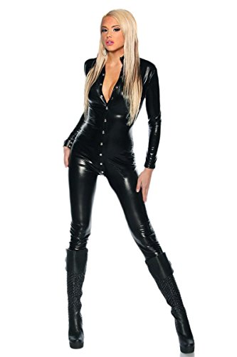 Dan Leder Jumpsuit Overall Catwoman Kostüme Latex Wetlook Sexy Dessous Ouvert Body ()