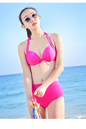 Frauen-hängenden Hals Bikini Bademode Badeanzug mit Schal M-2XL Rot