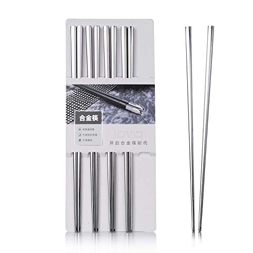 Leaptech Quality Metal Chopsticks Place Hotel Restaurant Stainless Steel Chopsticks Chopsticks Set (5pair) by Leaptech