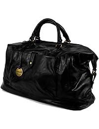 Borsone uomo da viaggio con manici tracolla borsa vintage grande palestra  dottore lavoro color cuoio nera 62aa1be9eb2