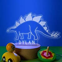 Personalised Dinosaur Stegosaurus Lamp/Dinosaur Night Light For Children/Personalised Dinosaur Gifts For Girls or Boys/Light Up Dinosaur Gifts For Kids Birthday
