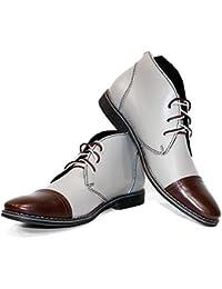20625f66abf6 PeppeShoes Modello Snoki - Handgemachtes Italienisch Leder Herren Grau  Stiefeletten Chukka Stiefel - Rindsleder…