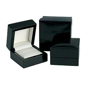 Luxury High Gloss Wooden Ring Box - Black Wood
