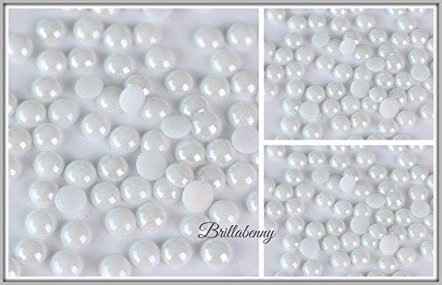 50 PERLE SS30 / 6MM CERAMICA DMC MC QUALITY TERMOADESIVE HOTFIX BIANCO WHITE Pearl HTF Ceramic Crystal Glass Half Round Flatback Iron On