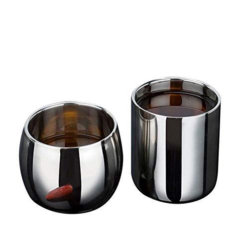Edelstahl-Doppelschicht-Anti-Hot-Hollow-Kaffeetassen-Becher Doppelschicht-Drinkware Mit Verbrühungsschutz (Color : 150ML) (Flaschenverschlüsse Glas Milch)