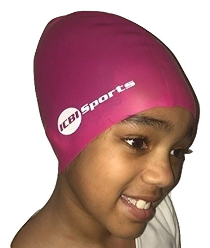 Kinder Badekappe, für extra langes Haar, Zöpfe, Dreadlocks, rose