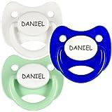Pack 3 chupetes personalizados con el nombre de Daniel