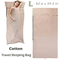 Azarxis Sleeping Bag Liner Travel Sheet Sleep Sack Blanket for Adult Cotton Lightweight Ultralight Envelope Compact - Double 2 King/Single 1 Queen