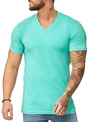 OneRedox Herren T-Shirt V-Neck Hoodie Longsleeve Kurzarm Shirt Sweatshirt Modell 1309 Mint L