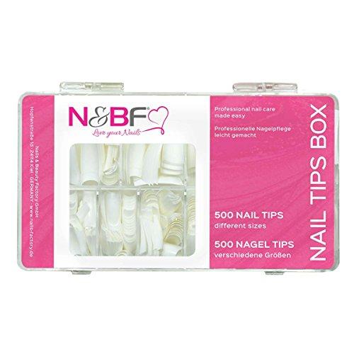 N & BF Classic Lot de 500 tips Blanc Boîte de rangement pour Kit ongles & vernis à ongles – Design Décorations ongles & Accessories Nail Art Ongles Tips Nail Extension 10 tailles pour votre design