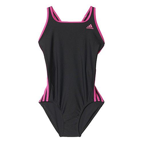 Adidas I 3S 1Pc Costume da Bagno da Donna, Colore Nero/Rosa (Nero/Eqtros), Taglia 40 IT