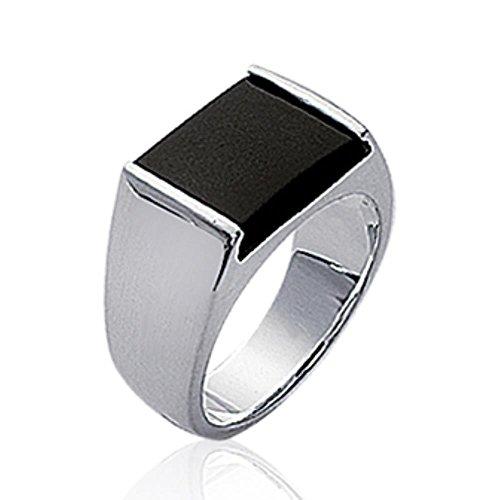 ISADY - Jona - Herren Ring Damen Ring Siegelring - 925er Sterling Silber - Imit. Onyx Schwarz - T 50 (15.9)