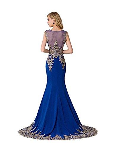Babyonline- Damen Elegant Ämellos Meerjungfrau Abendkleid mit goldener Blumenstickerei Bodenlang 32-46 Blau