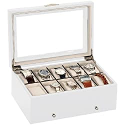Mele & Co Luxury White Satin Wood 10 Watch Display Case Storage Box Wooden Watchbox