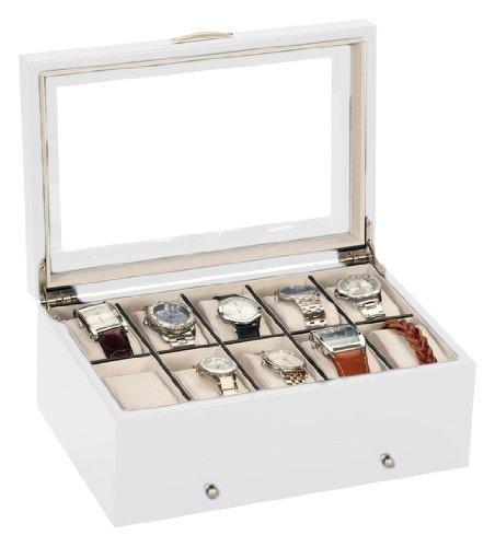 -nagelneu-entwurf-von-mele-co-10-uhr-collectors-box-in-satin-white-wood-finish-perfekt-fr-alle-uhren