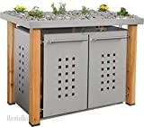 Edelstahl Mülltonnenbox für 2 Tonnen 240L mit Pflanzenwanne und Holzpfosten (HW22T), Mülltonnenhaus, Mülltonnenverkleidung