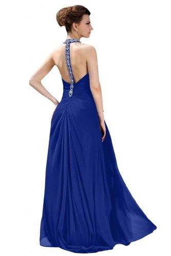 Lemandy Robe de soirée longue mousseline perles bretelle au cou Bleu - Bleu marine