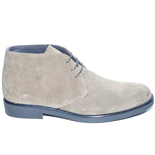 Polacchino uomo invernale in vera pelle camoscio tortora comfort basic stile italiano scarpe da professionista handmade (42 eu)
