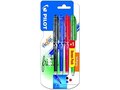 Pilot 2264B3 - Frixion Tintenroller Point Promotion 3 Stück schwarz, blau, rot + 1 Stift gratis (Farbe nicht wählbar)